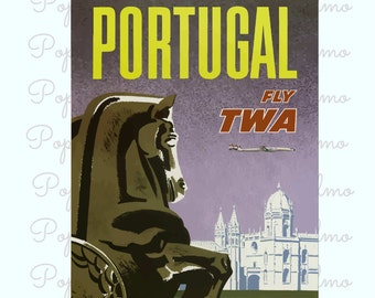 Portugal Travel Print, Portugal Poster, Europe Poster, Retro Travel Print, Portugal Tourism, Office Wall Decor, Apartment  Wall decor