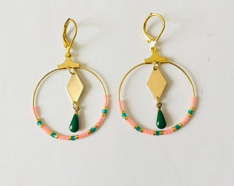 Earrings Green Pink and gold