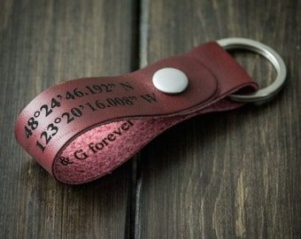 Latitude Longitude Keychain, Personalized Keychain, GPS Coordinates, Leather Key Chain, Custom Coordinates Keychain - Cherry