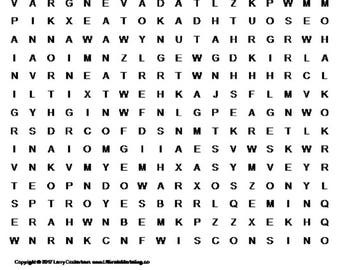 Names of States Word Search Puzzle (Part 2)