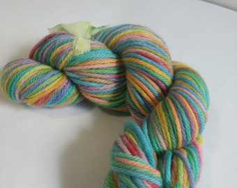 Destash: multi colored 100% highland wool, bulky weight, hand dyed by me.