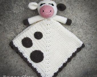 Cow Lovey CROCHET PATTERN instant download - blankey, blankie, security blanket