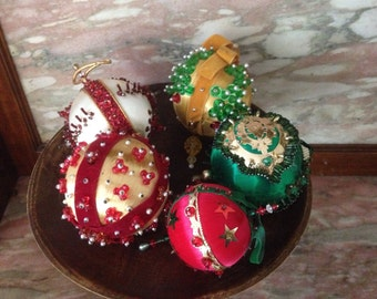 Vintage 60s Beaded Christmas Ornament Collection of 5 Sequin, Pearl, Pin Hand Decorated Satin Ball Gold, Green, White, Red