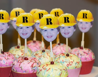 Personalized Construction hat photo birthday cupcake toppers
