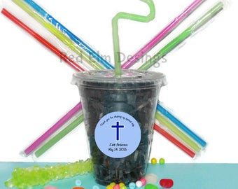 Baptism Party Cups, Cross Cups, Kids Birthday Party Cups, 20 Cups, Baptism Kids Party Cups, Straws and Lids, 12 Ounce Cups