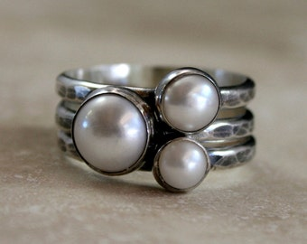 Pearl Stacking Rings, Sterling Silver, Set of Three Stackable White Pearls, Rustic Finish, Stack Rings, Silver Band