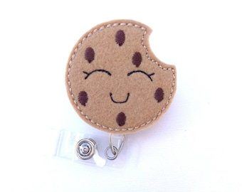 Retractable badge holder - Cookie badge reel - tan felt chocolate chip cookie - nurse badge reel medical badge reel - baker teacher