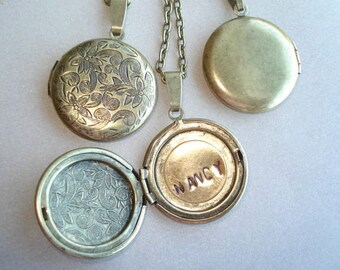 Initial Locket Brass Round Locket Necklace Gift Under 25  Special Locket Hand Stamped Locket Jewelry