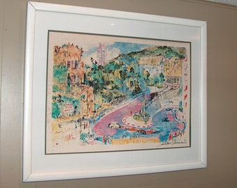 8546: Leroy Neiman Triple Signed Framed Print Monaco Grand Prix Pencil 36 x 30 Lithograph Print at Vintageway Furniture
