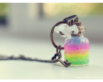 Rainbow bottle Necklace Glass Vial pendant Bottle jewelry Rainbow Necklace Miniature bottle charm potion necklace inspirational gift for her