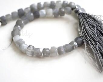 Gray Moonstone Box Cube Stone Beads 5-6mm -1/2 STRAND