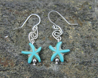 Turquoise Starfish Bead Earrings, Sterling Silver Ocean Beach Sea Life Jewelry, Gift for Her, Star Fish Earrings