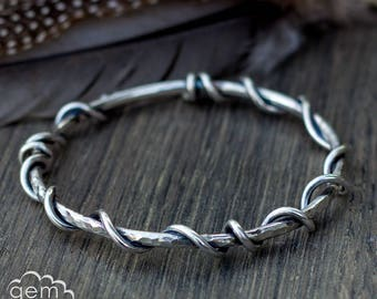 Sterling silver chunky bangle - Tangled bangle
