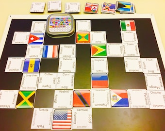 Caribbean Connections Game | Educational | Magnetic | Handmade | Card Game | Word Game | Flags Game