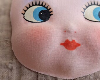 1930 Vintage hand painted cloth dolls face, scrapbooking, paper craft home decor embroidery mixed media doll making
