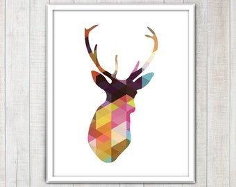 Deer head Stag Antlers Silhouette with colorful geometric triangles