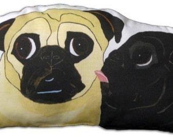 Pug Art Doll - Fawn and Black Pugs - The Kiss