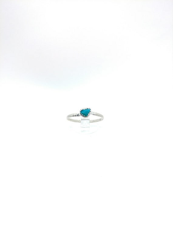 Simple Raw Turquoise Blue Ring   Sterling Silver Ring Sz 8.5   Blue Green Stone Ring   Raw Chrysocolla Ring   Simple Blue Stone Ring