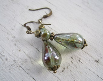 Pear Teardrops:  Czech Glass Dangly Earrings