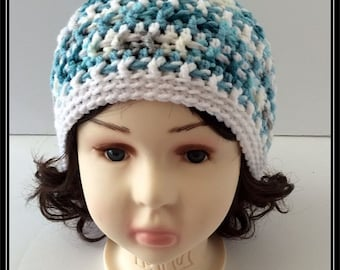 Crocheted Basic Beanie hat!!! Aqua variegated and White!  Ready to Ship!