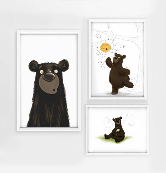 Bear Nursery Wall Art Honey Bee Baby Room Decor Bumble Best Friends Digital Download Illustration Cute Print Cub Unisex
