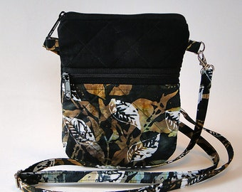 Cell Phone Bag, Crossbody Bag, Black, Leaves, Autumn Bag, Festival Bag, Quilted, Fabric, Zipped Bag