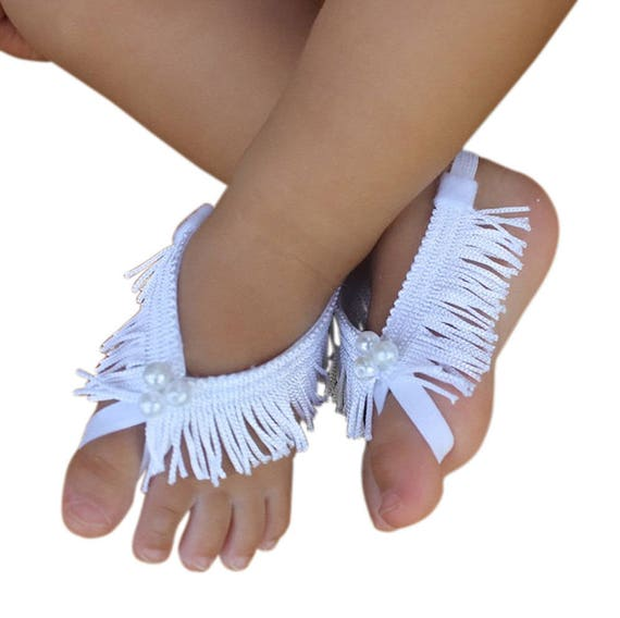 Baptism Baby Sandals, White Sandals, White Barefoot Sandals, Barefoot Baby Sandals, Baby Barefoot Sandals, Baby Accessories