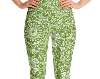 Leggings High Waist Avocado Yoga Pants, Women's Printed Leggings, Green Mandala Leggings