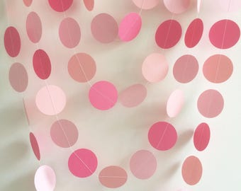 Pink Ombre Circle Garland, Decor, Parties, Baby Showers, Weddings, Celebrations