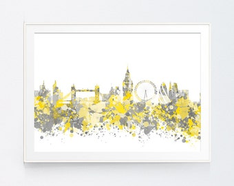 Yellow gray world map print mustard and grey world map wall london skyline print yellow grey london london skyline watercolor art print poster gumiabroncs Image collections