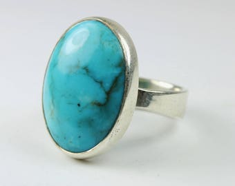 Minimalist Style (1970-Present) Sterling Silver Oval Turquoise Ring Size: L-5 1/2