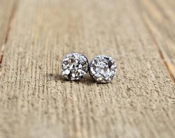 Druzy Earrings. Pewter druzy earrings.  Bridesmaids gift idea.