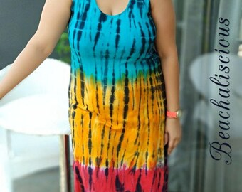 Rainbow Women's Beach Swimsuit Cover Ups / Pareo / Bathing Suit Cover Ups / tie dye Dress, Swim Dress, tunics Wrap Long Dress / Gift for Her