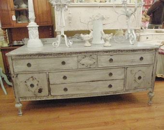 Custom Order FAB Antique Shabby Chic Buffet Console French Gray White  Distressed Flat Screen Tv Cottage