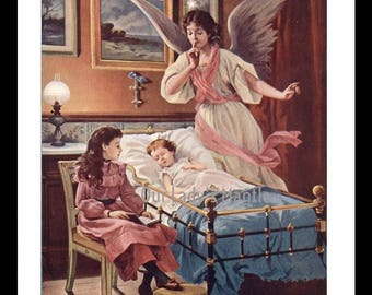 1906 Color Print - Guardian Angel Watching Over a Sleeping Child