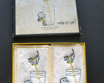 Vintage Cocktail Towels with Cute Puppy and Kitty Graphic By Gaby