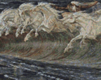 Horse Cross Stitch Chart, Horses of Neptune Cross Stitch Pattern PDF, Art Cross Stitch,  Walter Crane, Embroidery Chart