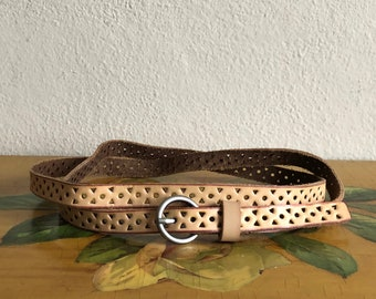 Tan Leather Skinny Belt Vintage Distressed