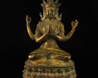 N4701 Tibet Gilt Gold Bronze Four Arms Kwan-yin Statue