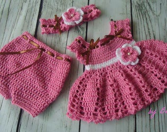 Crochet Baby Dress, Infant Baby Set, Baby Girl Outfit, Newborn Baby Outfit, Baby Shower Gift, Infant Girl Dress, Coming Home Outfit, Diaper