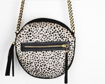 Leather cross body with cheetah print