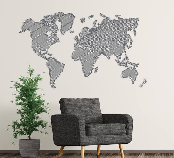 Black and white world map wall decal sketch map decor map like this item gumiabroncs Gallery