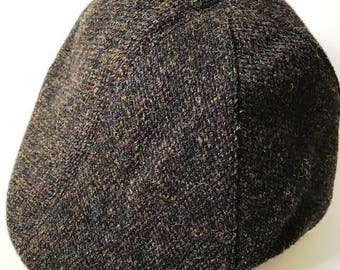 Mens Harris Tweed 6 panel driving cap