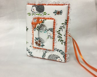 Custom Photo Album HedgeHog, Holds 100 4x6 Photos - Handmade Fabric Photo Album