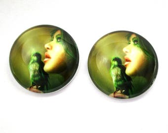 2 x 25 mm - Fairy - fairy with bird cabochons