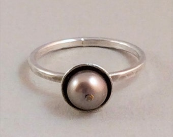 Pearl ring. Sterling silver.  Beige. Taupe pearls. Pod. Everyday wear. Minimalist pearl ring. Stackable ring. Devine Designs Jewelry