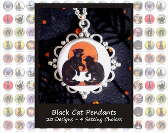 Black Cat Pendants - 20 Designs, 4 Setting Choices