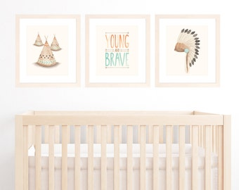 "Tribal Nursery Art, Set of 3 11""x14"" or A3 Prints for Baby Boy Nursery, Boys Room, Bohemian Nursery with War Bonnet, Teepee & Brave Quote"
