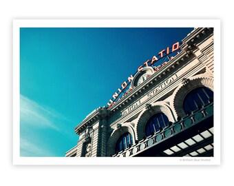 Union Station | Train Depot | Industrial Loft Decor | Vintage Look Photograph | Colorful Art | Blue Sky | Denver Colorado