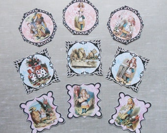 FANTASTIC Alice in Wonderland Fancy pre-cut STICKERS- Set of 9 Alice Cupcake toppers Alice in Wonderland decorations Alice party decorations